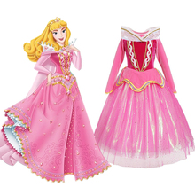 Sleeping Beauty Princess Costume Aurora Dress for Girl Sequined Pink Gown Kids Long Sleeve Cosplay Carnival Halloween Dresses