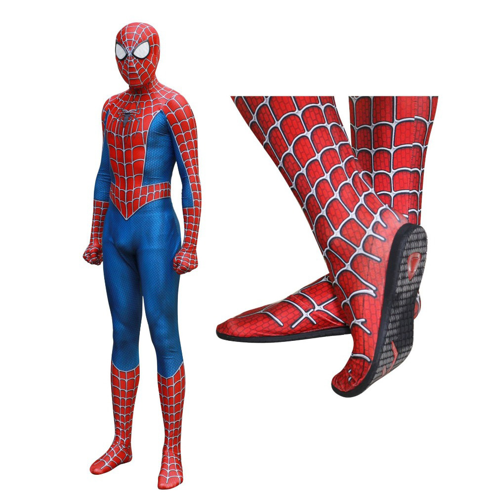 Raimi Spiderman Kostuum Cosplay Costume 3D Print Full body Zentai Suit Insole Lens Mask Adult Kids Spider-man Bodysuit Costume