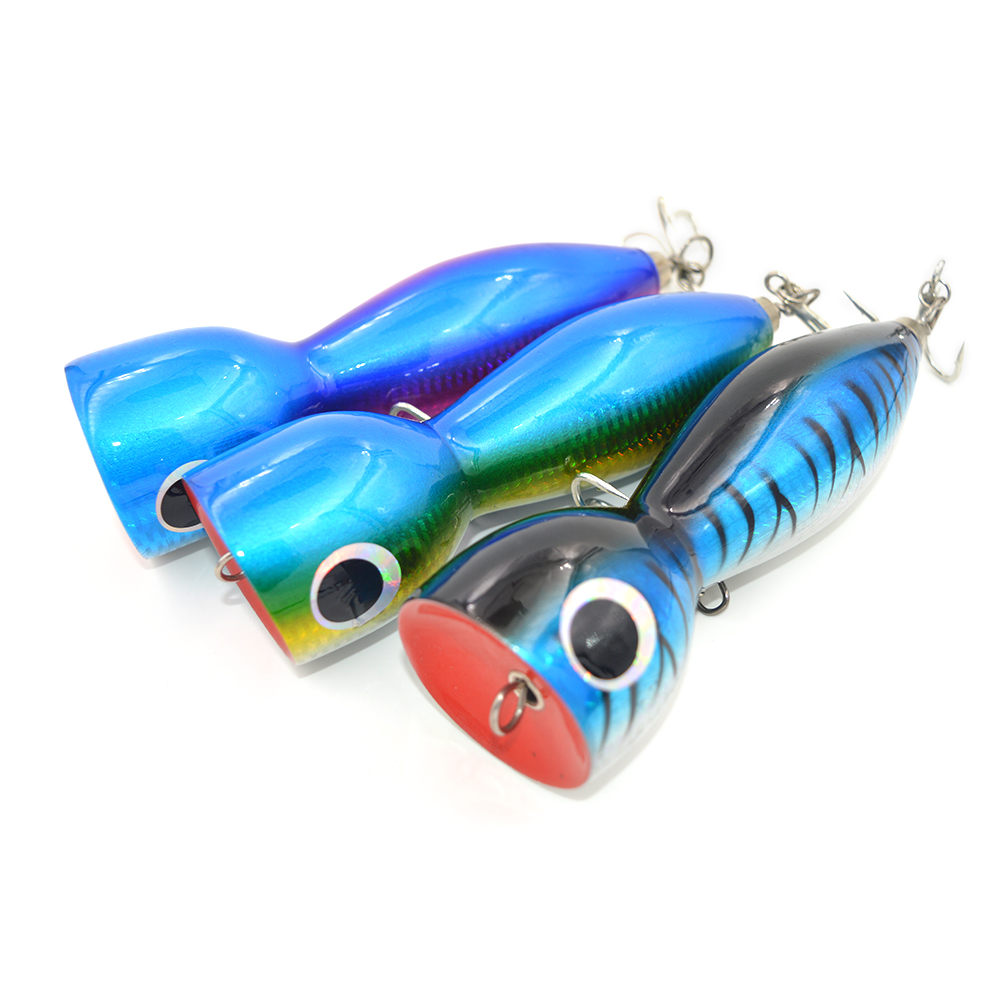 3 pcs/lot Boat Fishing Lure Popper Saltwater Big Game <font><b>Topwater</b></font> GT Lure Handcraf Wood <font><b>Bait</b></font> Mustad Hook 180mm 150g Topest Quality