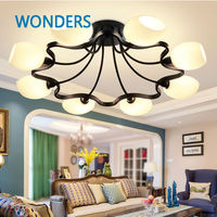 Creative Design Ring Shaped Iron Ceiling Lights Black Vintage Modern Style Suspension Lamps Concise Glass Indoor