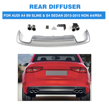 PP Car Rear Bumper Diffuser Lip With Exhaust Muffler For Audi A4 B9 Sline S4 Sedan 4 Door Non A4 RS4 2013-2015