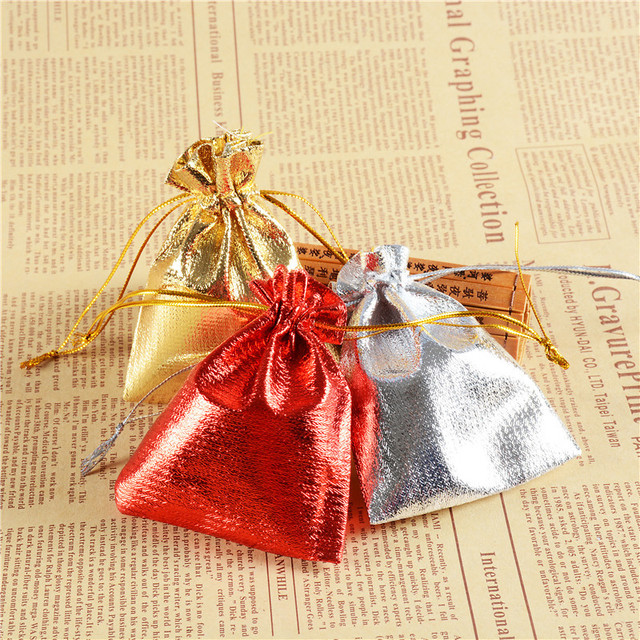66999c1f4d6e1 Wholesale Red/Gold Gift Bag 5x7cm Candy Pouches Golden Drawstring Small Organza  Satin Bags Christmas Party Pouch 100pcs H2176