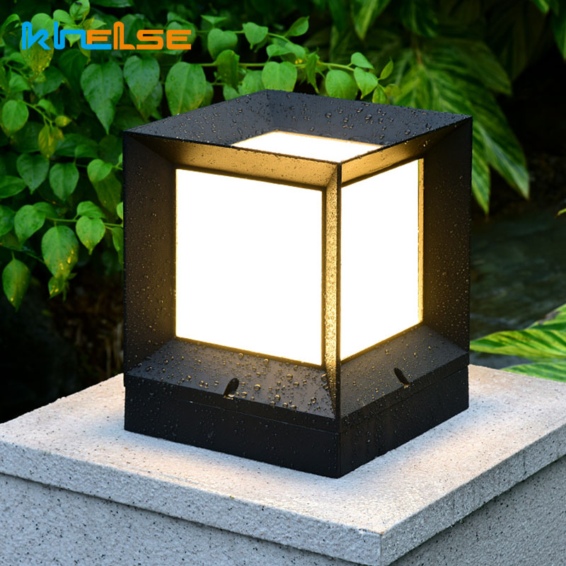 Solar Outdoor Led Light Fixture Solar Power Waterproof Lawn Lamp Fence Gate Lamp Lamppost Garden Lights