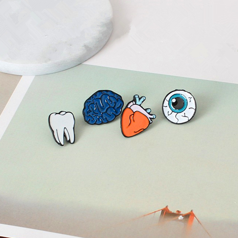 Fashion design Color drop oil Human Body Organs Brooch Corsage Eye Teeth Brain Heart Brooches Pins Lapel Pin For Women Jewelry