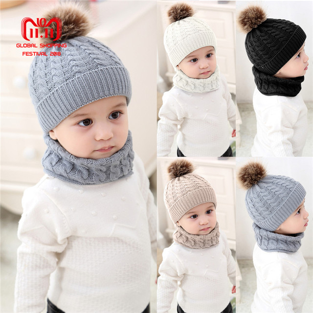 838a903be52 Puseky 1 Set Baby Hat Scarf Winter Fur Ball Knitted Warm Newborn Beanie  Solid Color Protect
