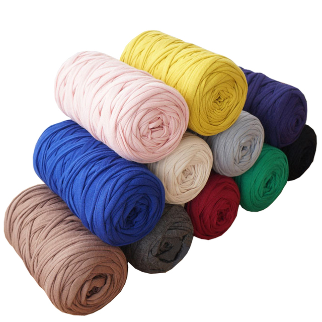 400g Lot 2pcs Knit Wool Diy Hand Knitting For Rugs Woven Thread Elastic Cotton Cloth