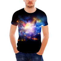 FORUDESIGNS Fashion Galaxy Men T Shirt Space Print T Shirt For Male Youth Teenager Short Sleeve