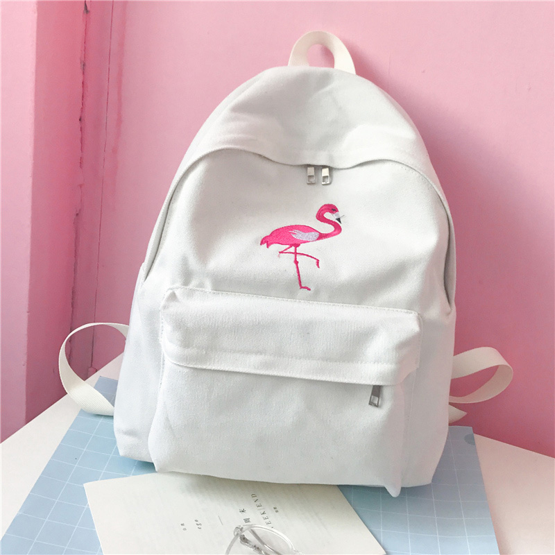 <font><b>HOBBAGGO</b></font> Fashion Women Harajuku Flamingo Embroidery <font><b>Backpack</b></font> Travel <font><b>Backpack</b></font> School Students Canvas Rucksack 88 New image