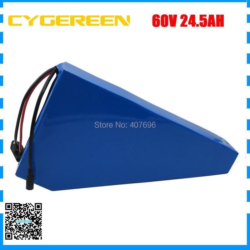 60 V batteria al litio ebike di 24.5AH 60 V 25AH triangolo batteria 60 V AKKU utilizzare samsung 3500 mah cellulare 50A BMS con il sacchetto libero 2A Caricatore