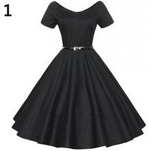 Frauen Vintage Breiten V-ausschnitt Lange Schaukel Kleid Kurzarm Kleid