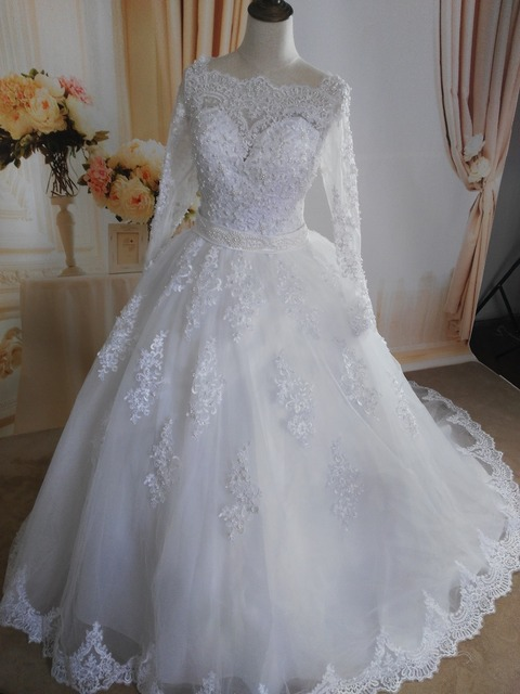 ZJ9131 2019 White Ivory Elegant Ball Gown Pearls Wedding Dresses for brides Lace sweetheart with lace edge Plus Size 5