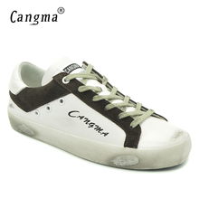 CANGMA New Brand Fashion Shoes White Woman Casual Shoes Genuine Leather Bass Cow Suede Lace Up Platform Sneakers Female Footwear