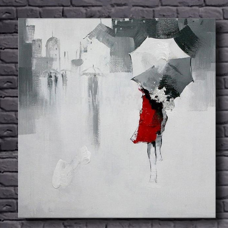 Sale Handpainted Abstract Landscape Oil Painting on Canvas Large Rainy Streetscape Paintings Pictures Modern Wall Art Home Decor