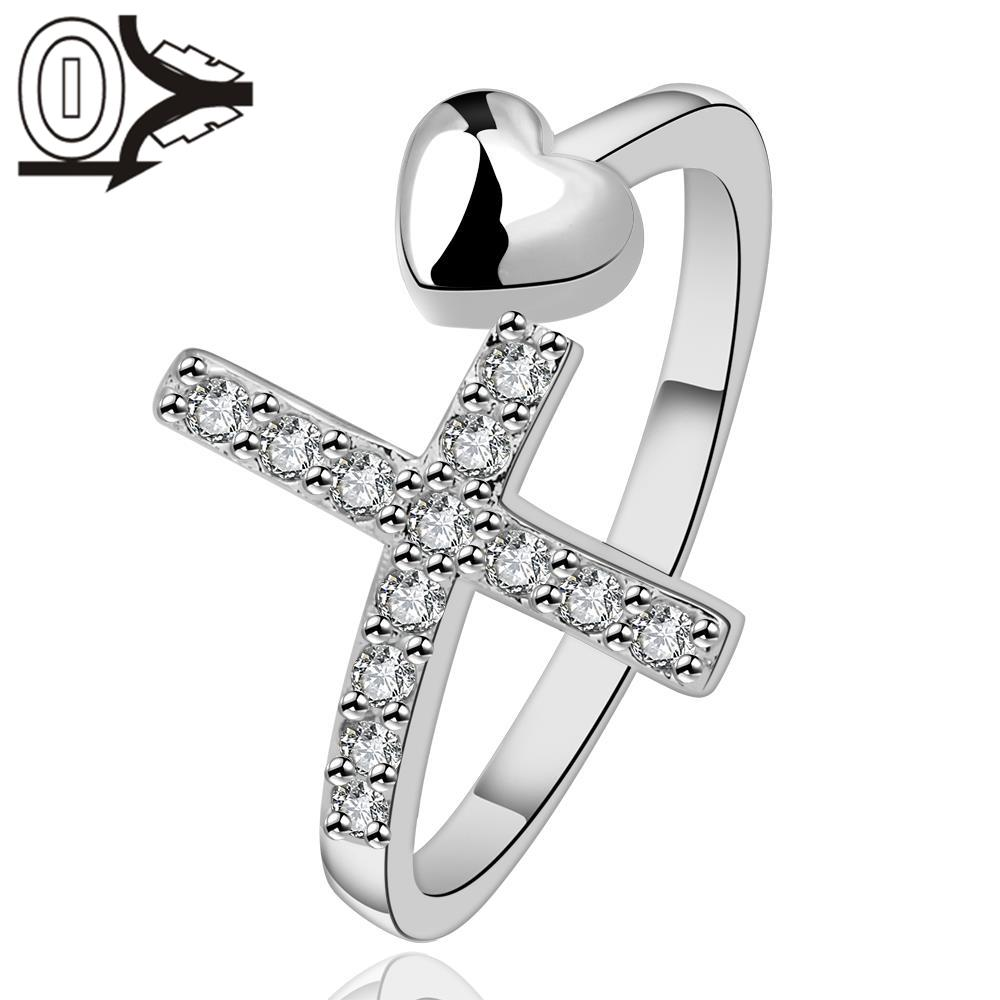 Free Shipping Wholesale Silver-plated Ring,Silver Fashion Jewelry,Women&Men Gift Cross With Heart Opening Silver Finger Rings