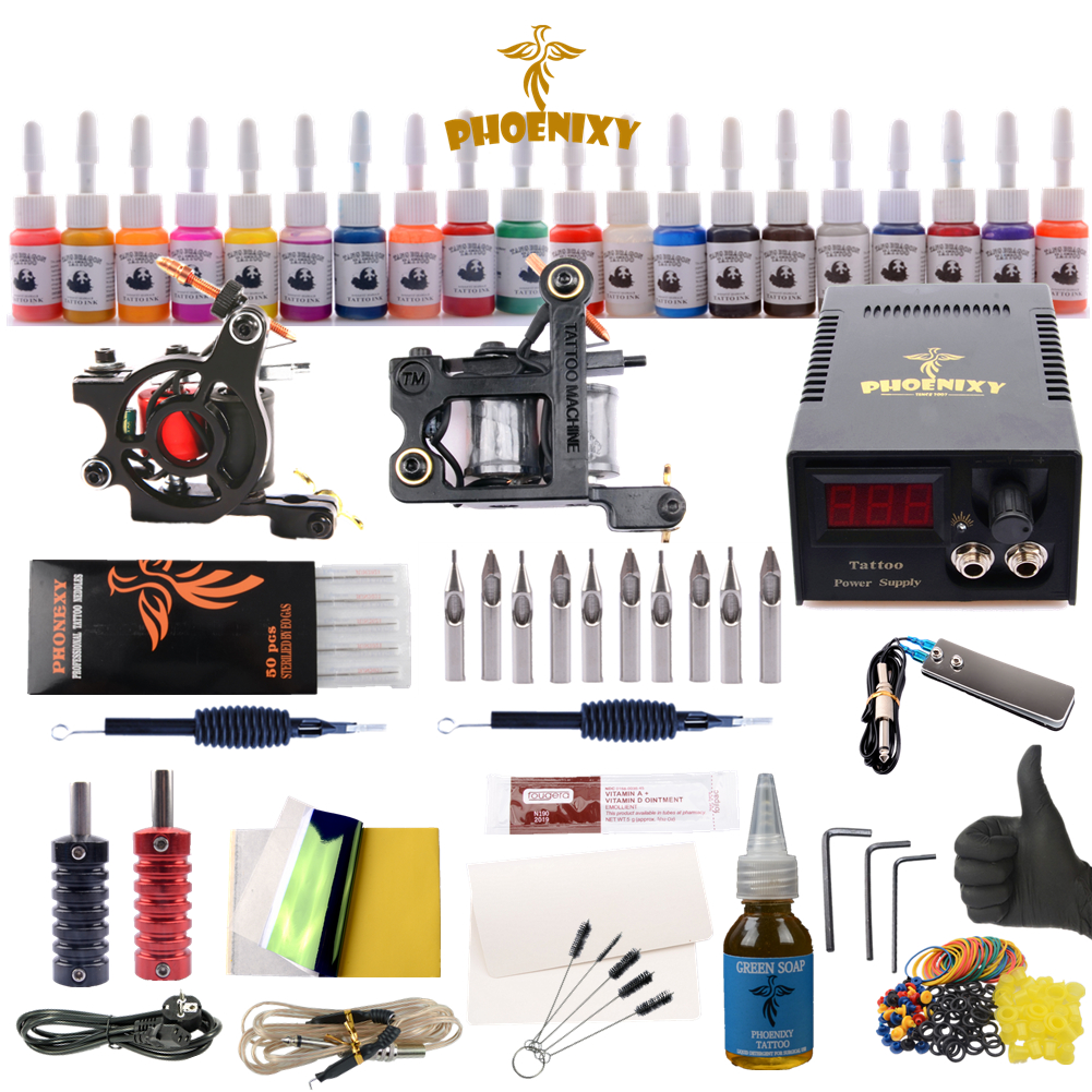 Professional Tattoo Kit 20 Colors Tattoo Ink Sets Black Power Supply Needles Permanent Make Up professional tattoo kits liner and shader machines immortal ink needles sets power supply