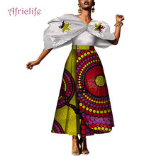 Fashion African Print Women 2 Piece Dress Set Shawl Sleeve Shirt +Long A Line Skirt Lady Party Club Wear WY4129