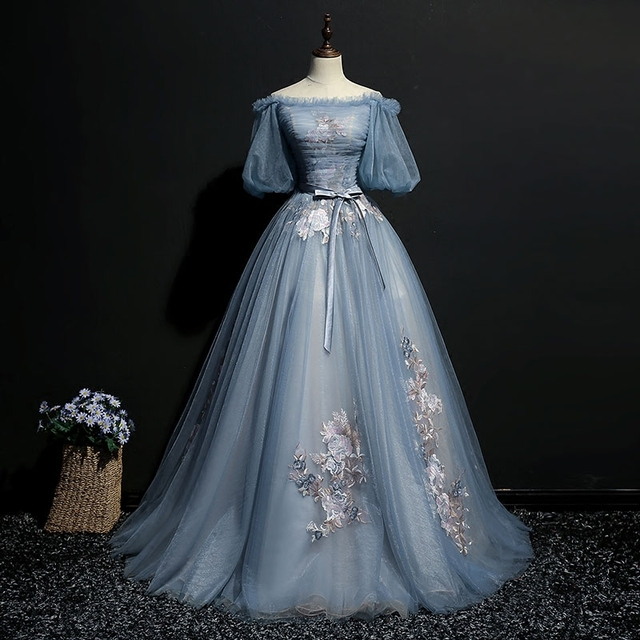 Medieval Renaissance Elizabethan Embroidery Beaded Chiffon: 100% Real Light Ash Blue Vintage Bubble Cosplay Ball Gown