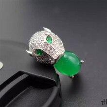 HOMBRE de la manera DEL Anillo Con la Piedra de Gema 925 anillo de plata maciza para hombre natural verde jade anillo para hombre joyería de la promoción del regalo de cumpleaños