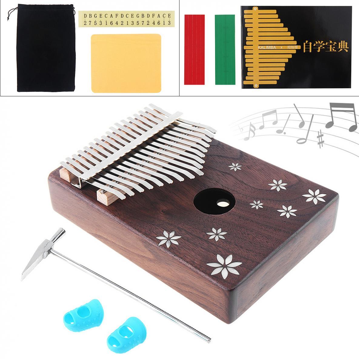 17 Key Mini Kalimba Acacia Wood Thumb Piano with Shell Inlay Seven leaf Flower Mbira Natural Keyboard Instrument