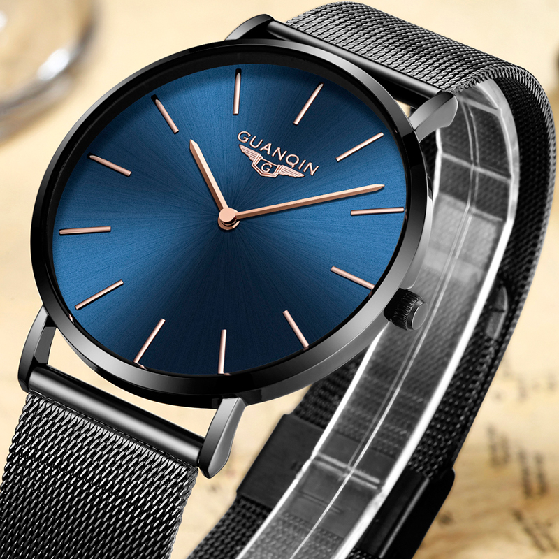 GUANQIN Mens Watches Top Brand Luxury Ultra Thin Mesh Band Men Business Casual Clock Stainless Steel Waterproof Quartz Watch bestdon new top luxury watch men brand men s watches ultra thin stainless steel mesh band quartz wristwatch fashion casual clock