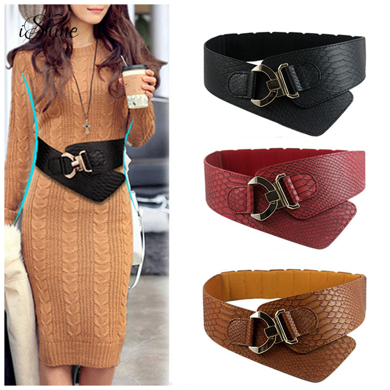 Fashion 2017 Women Wide Waist   Belts   Crocodile Pattern Faux PU Leather Female Waistband Cummerbunds Luxury Metal Corset   Belts