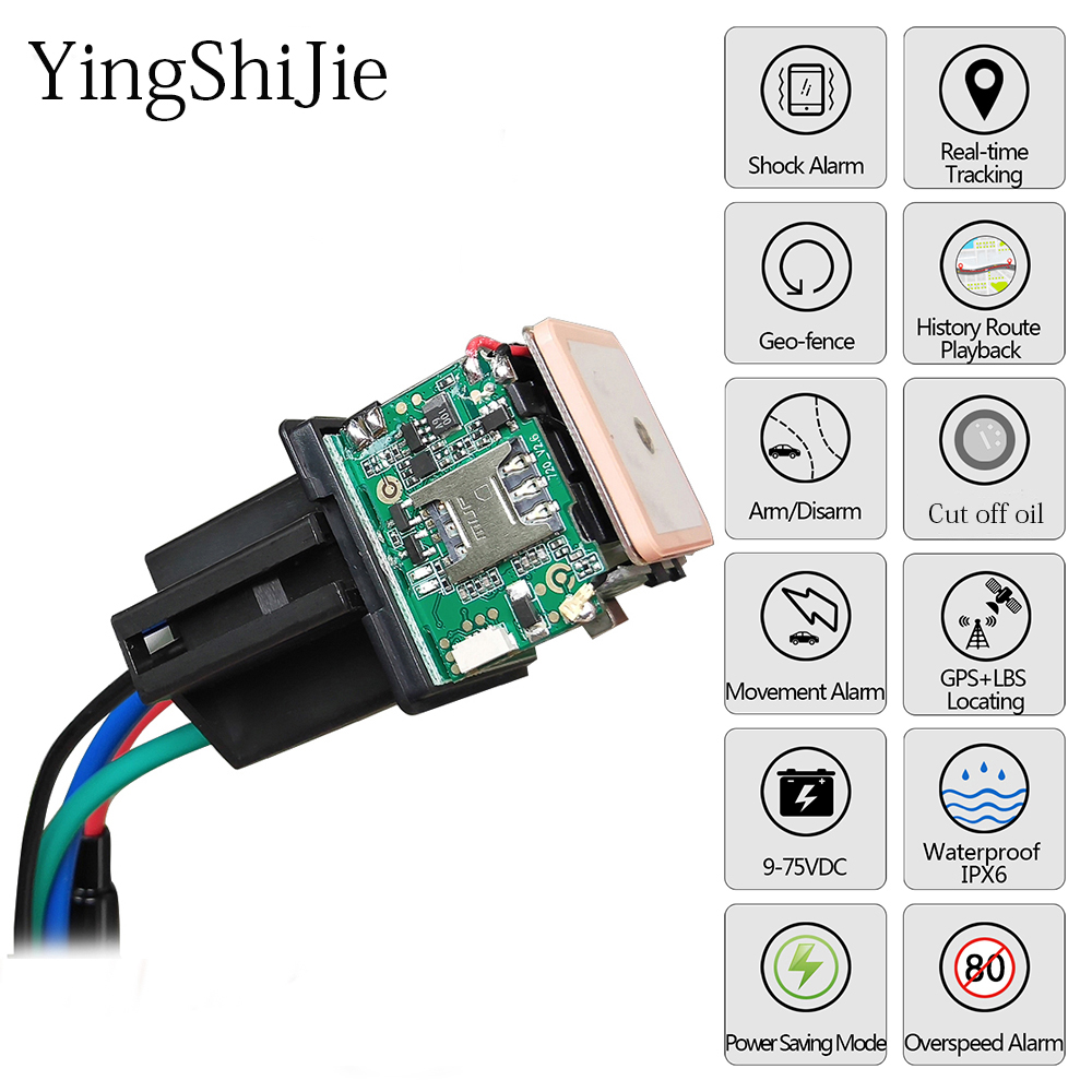 Car Tracking Relay GPS Tracker Device GSM Locator Remote Control Anti-theft Monitoring Cut Off Oil Power System APP(China)