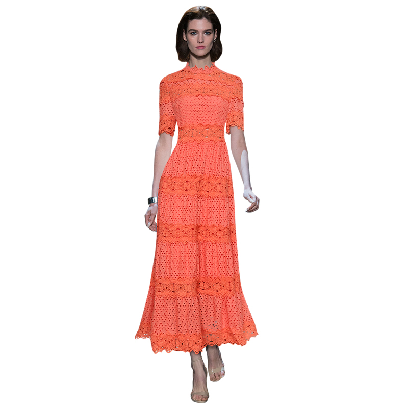 boho clothes white orange hollow out crochet evening maxi dress high neck 1 2 sleeves a