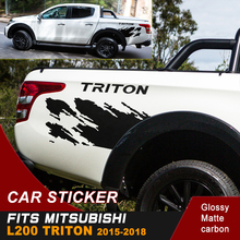 free shipping  mud splash car body sticker 4x4 off road pickup box bed decal for mitsubishi l200 triton 2006-2018