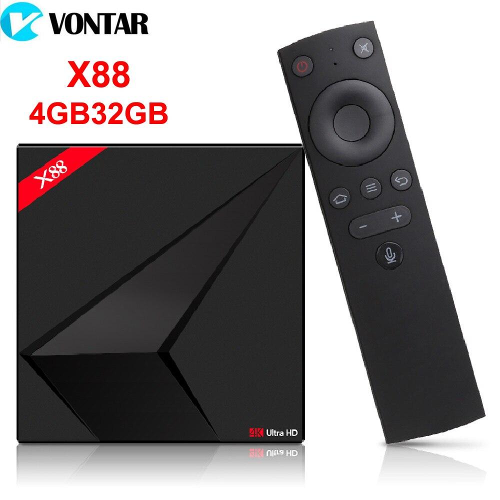 Vontar Google Android ТВ Окно с голосом Управление Rockchip RK3328 4 ГБ 32 ГБ потокового поле с приложением Google Play Store Netflix Youtube