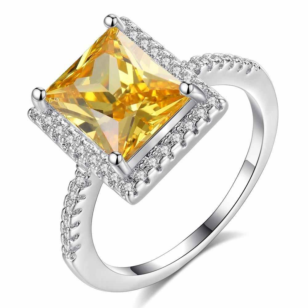 Beiver Шампанский кубик циркония свадебные кольца белого золота для женщин 2019 Новая мода