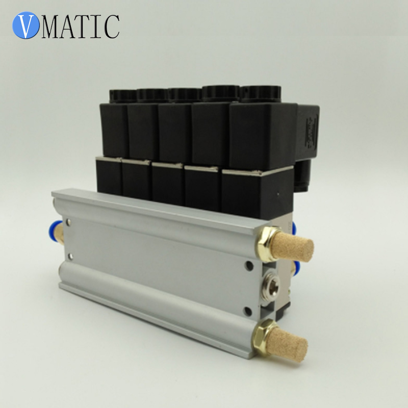 Free Shipping High Quality Quadruple Solenoid Valve Aluminum Base Fitting Mufflers Set Dispensing Solenoid ValveFree Shipping High Quality Quadruple Solenoid Valve Aluminum Base Fitting Mufflers Set Dispensing Solenoid Valve
