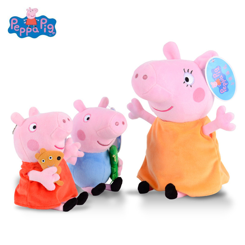 Peppa Pig Stuffed Plush Family Party Toys George Pig 19cm Plush Dolls For Girls Gifts Animal Plush Toys Original Brand 19cm adorable peppa pig dad mom george stuffed plush toy