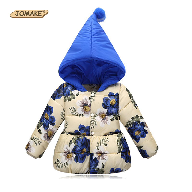 JOMAKE 2017 Winter Girls Parkas Kids Warm Floral Hooded Jackets Infant Girl Outerwear Coat Children Clothing Baby Girl Clothes