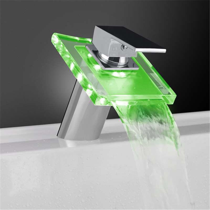 drop shipping Chrome Finished Bathroom Waterfall Sink Basin Faucet Glass Spout LED Color Changing Mixer Tap Deck Mount led bathroom sink faucet basin mixer taps 3 color changing glass waterfall spout temperature sensor polished s 007a