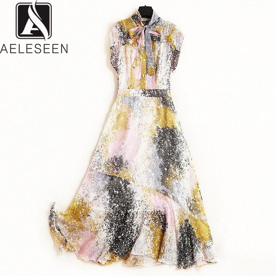 AELESEEN nouveauté couleur mélange imprimé robes décontractées femmes été 2019 mousseline de soie chute épaule papillon manches arc longue robe