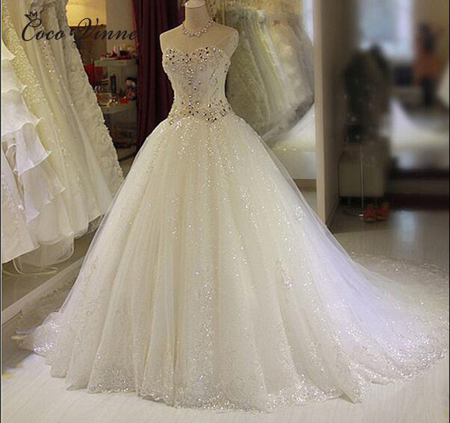 Luxury Crystal Beads Sweetheart Princess Wedding Dress 2019 Ball Gown Plus Size Court Train Organza Tulle