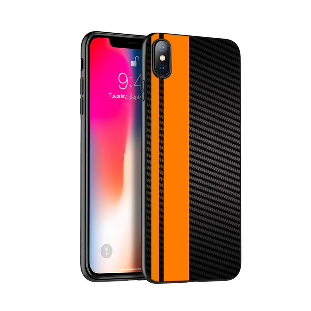 Carcasa de TPU negra para iphone 5 5s se 6 6s 7 8 plus x 10 funda de silicona para iphone XR XS MAX funda de fibra de carbono para coche