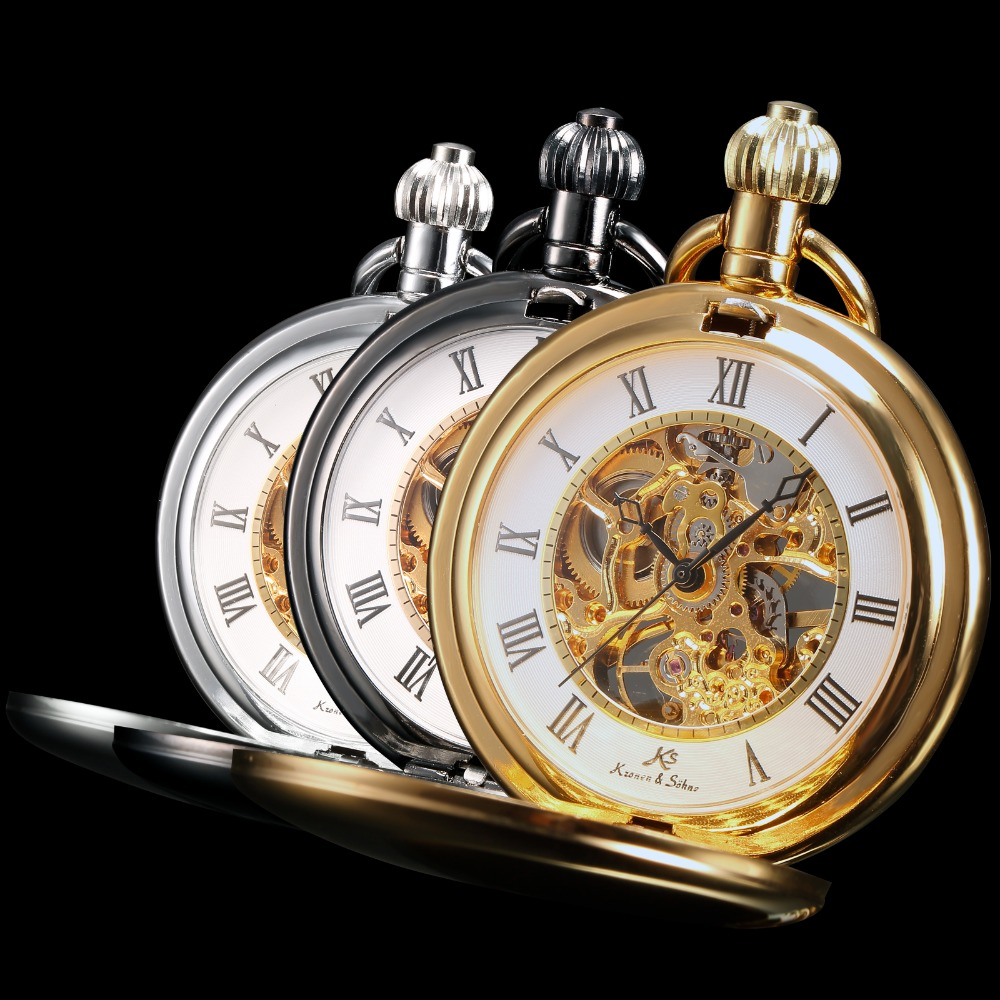 KS Steampunk Watches Hand Winding Retro Skeleton Roman Numerals Fob Pendant Chains Mechanical Pocket Watch Gift /KSP006 008