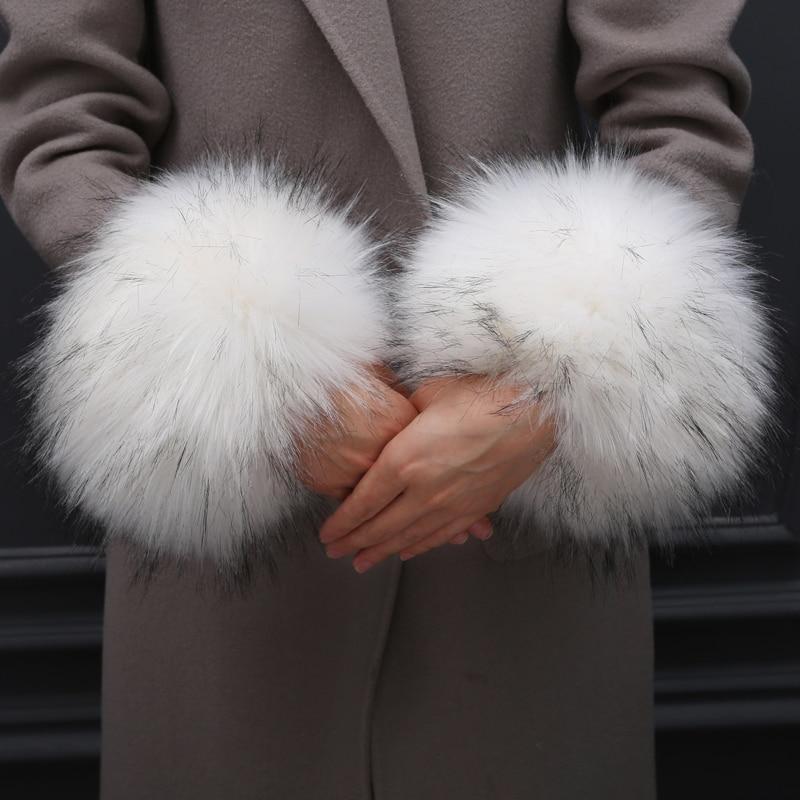 Thick Women's Autumn Wrist Gloves Fashion Faux Fox Fur Elastic Oversleeve Cuff Winter Warm Arm Wrist Sleeve Cuff Cover