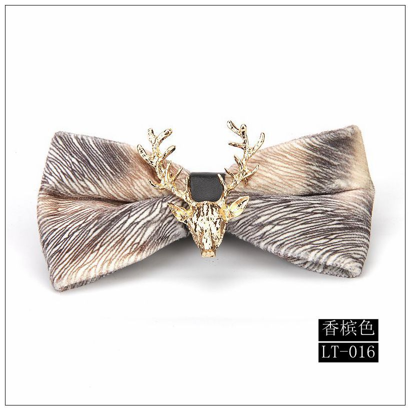 Wedding Holiday Gifts Gold Christmas Deer Head Velvet Pre-Tied Bow NeckTie Champagne Bowtie