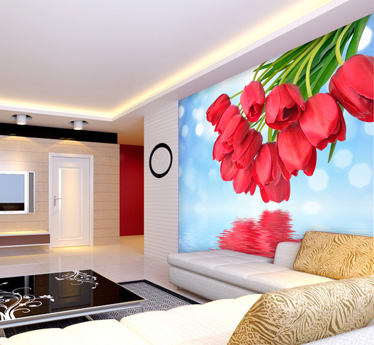 Custom 3d stereoscopic landscape living room TV backdrop Korean romantic roses sunset bedroom large mural wallpaper wall paper 3d stereoscopic large mural custom wallpaper the living room backdrop bedroom fabric wall paper murals fashion romantic roses