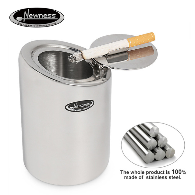 Newness Stainless Steel Car Ashtray with Lid,Cigarette Ashtray for ...