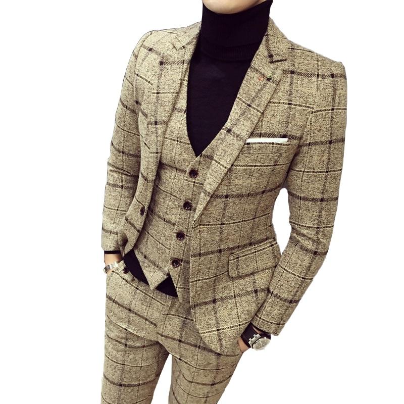 ( Jackets + Pants ) Groom Wedding Dress Plaid Formal Suits 2 Pcs Set Mens Fashion Boutique Wool Business Suit Stage Party Dress