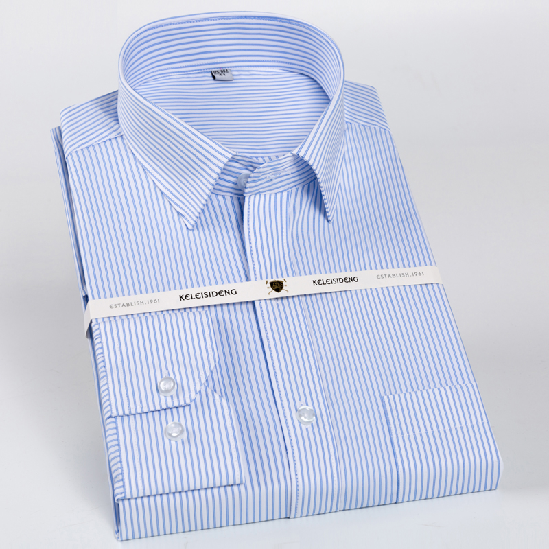Men's 100% Cotton Long Sleeve Dress Shirts Non Iron Standard-fit  Spread Collar Formal Business Checked Striped Shirt