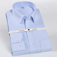 Men's 100% Cotton Long Sleeve Dress Shirts Non Iron Standard fit Spread Collar Formal Business Checked Striped Shirt