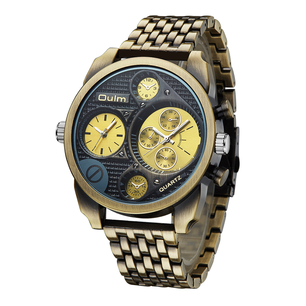 Oulm Individuality Big Watch Man Luxury Brand Quartz Wrist Watches Gold Men Full Steel Watch Military Male Clock montre homme 2018 new fashion watch men gold steel watches women hot selling ladies luxury brand rosra wristwatches man clock montre homme