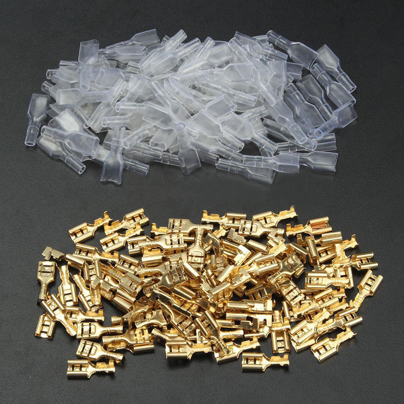 цена на 100 sets 6.3mm Gold Crimp Terminal Female Spade Electrical Connectors & Insulating Sleeve Wrap Kit Car Electrical Terminals
