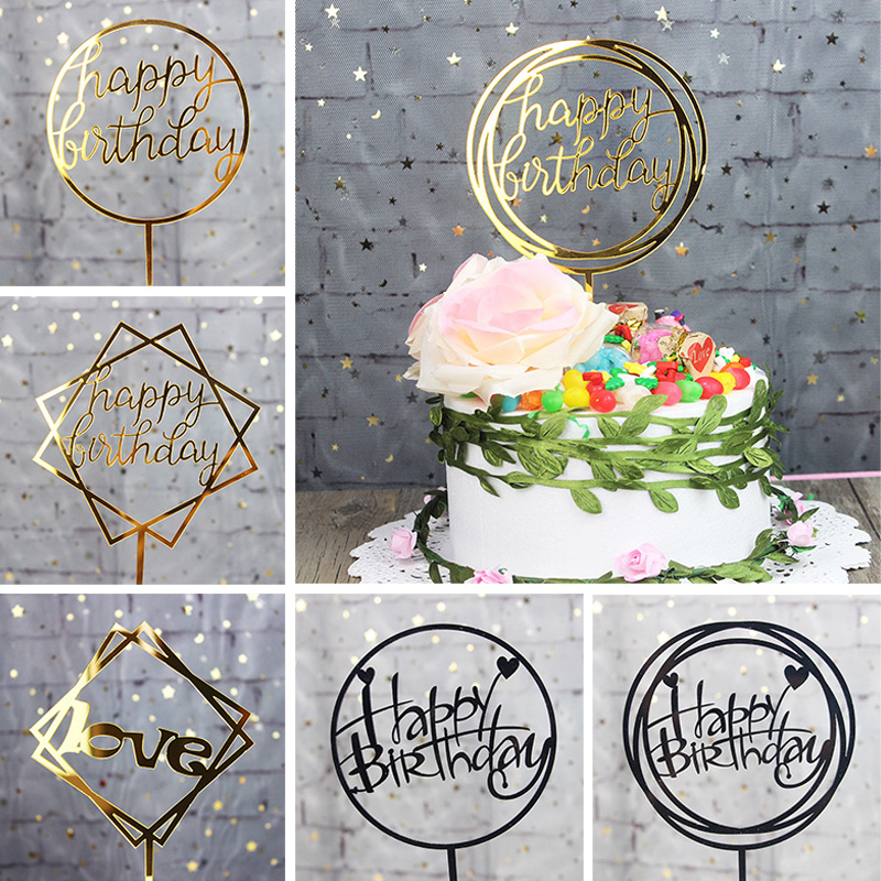 1 pcs acrylic happy birthday love cake topper for birthday cupcake flag baby shower party wedding decoration supplies unicorn party birthday decorations unicorn party 20cm artificial rose flowers banner cake topper baby shower party cake decor