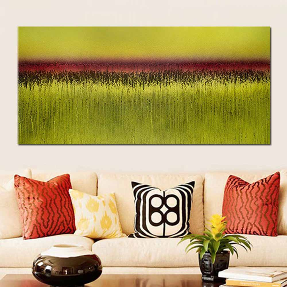 Hand Painted Modern Abstract Art Yellow Color Landscape Oil Painting ...