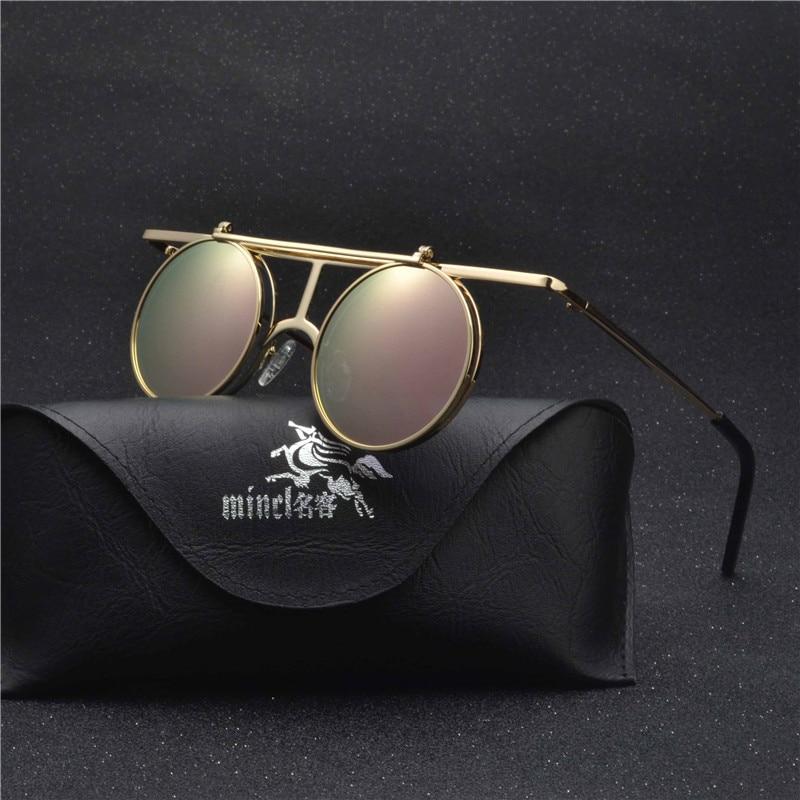 MINCL/ Small Round punk Sunglasses Men Women Flip Up lens Punk Sun Glasses for Male Vintage Goggles NX 5